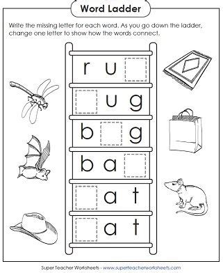 basic word ladder puzzle worksheets for teaching phonics