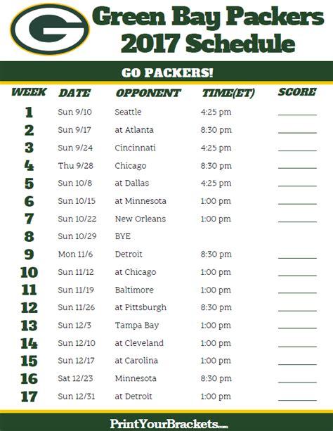 green bay packers football schedule printable nfl