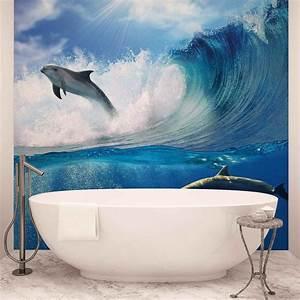 Poster Mural Nature : dolphins sea wave nature wall paper mural buy at europosters ~ Teatrodelosmanantiales.com Idées de Décoration