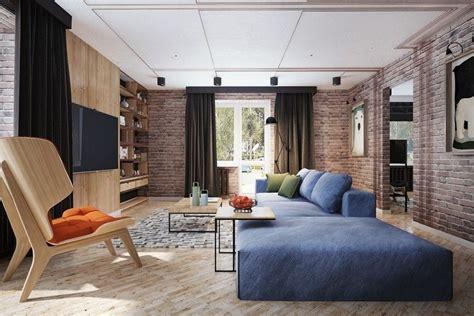 Wohnzimmereinrichtung Mit Freigelegter Ziegelwand