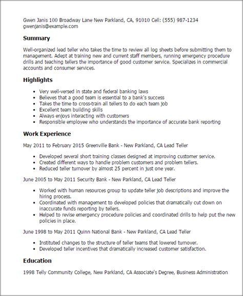 teller resume exle lead teller resume template best design tips