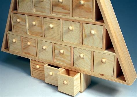 Wood Advent Tree Featuring 24 Removable Box Drawers  Ready