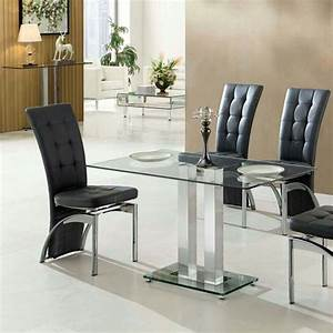 Jet small dining table rectangular in clear glass 27422 for Small rectangle glass dining table