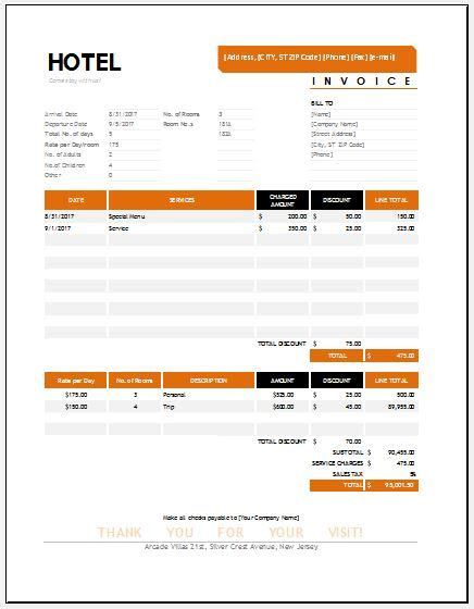 hotel invoice templates  ms excel word excel templates
