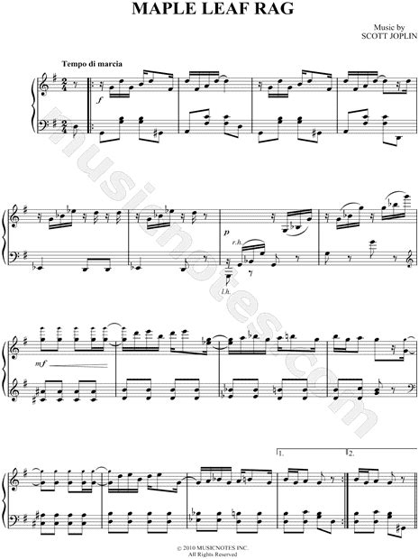 """Maple leaf rag is an early ragtime musical composition for piano composed by scott joplin. Scott Joplin """"Maple Leaf Rag"""" Sheet Music (Easy Piano ..."""