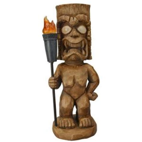 moonrays solar powered led brown tiki warrior light 95960