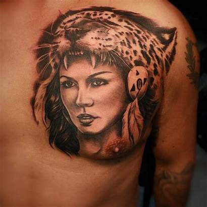 Aztec Tattoo Head Cheetah Chest Tattoos Designs