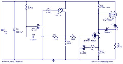 Powerful Led Flasher Electronic Circuits Diagrams
