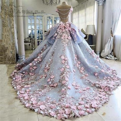 colorful luxury wedding dresses pink flowers dreamy ball