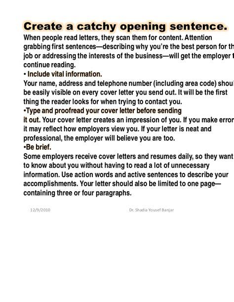 sentance cover letter for catchy sentence for cover letter catchy sentence for