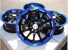 15 Inch Black w Blue Lip Automotive Rims 15