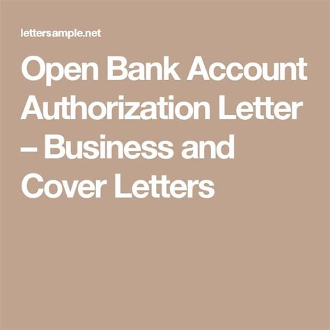 open bank account authorization letter business