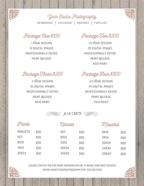 photography price list price sheet photography template photography price list marketing photoshop template