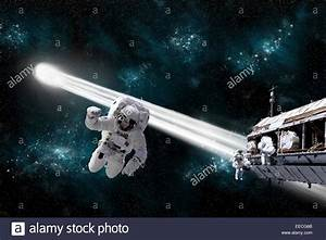 Artist's concept of an astronaut floating in outer space ...
