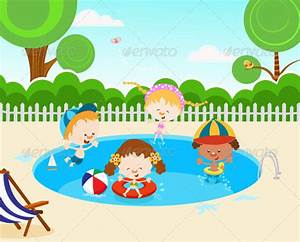 Kids In Swimming Pool | GraphicRiver