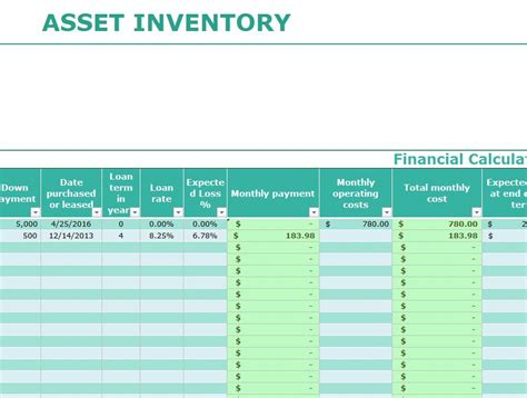 asset inventory template  excel templates