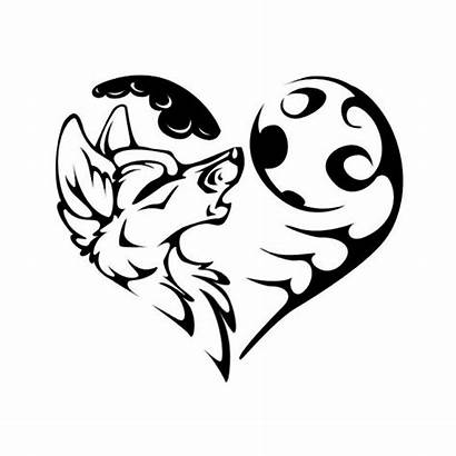 Tribal Wolf Coloring Moon Pages Heart Howling