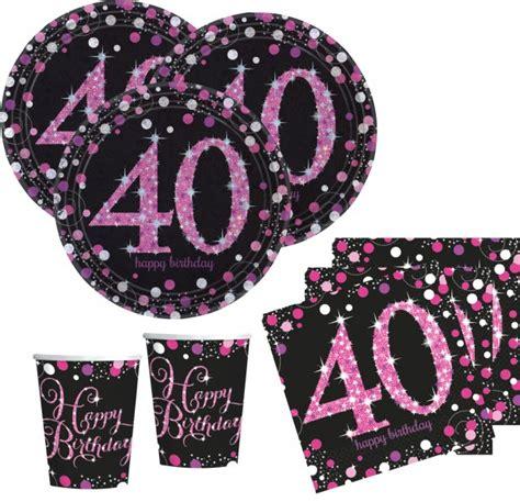16 servietten glitzerndes pink und schwarz 40 geburtstag