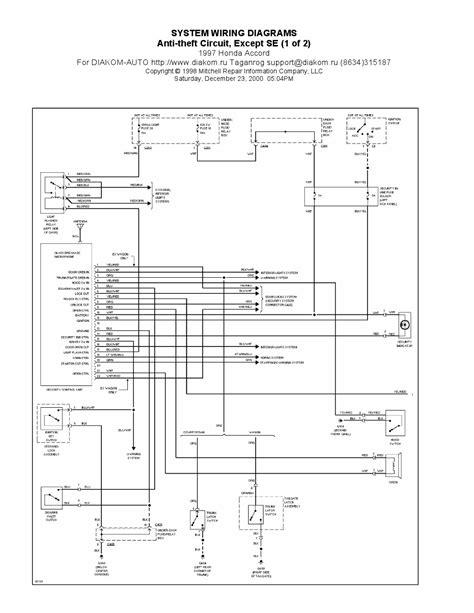 1997 Honda Accord Diagram by V Manual 1997 Honda Accord Anti Theft Circuit System