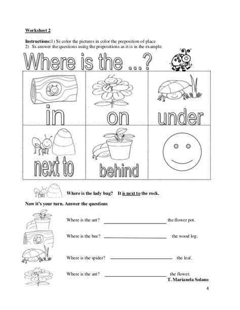 exercises prepositions of place printable free printable