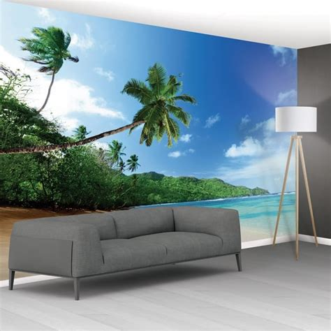 1wall Tropical Beach Sea Palm Trees Exotic Mural Wallpaper