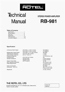 Rotel Rb-981 Power Amplifier Service