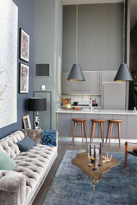 wohnzimmer graue wand wohnzimmer mit k 252 che 34 moderne designs archzine net
