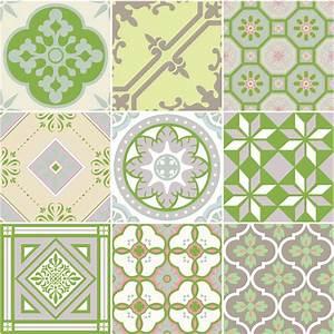 9 stickers carrelages azulejos nuance de vert art et With carreaux de ciment vert