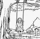 Swing Drawing Tree Coloring Getdrawings Kid Summer sketch template