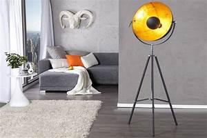 Moderne Stehleuchten Design : moderne design stehlampe big studio 160 cm schwarz gold lampe blattgold optik riess ambiente ~ Sanjose-hotels-ca.com Haus und Dekorationen