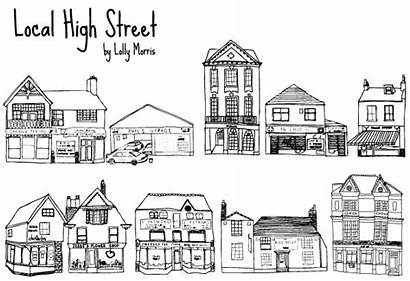 Street Shops Drawn Hand Vector Clip Clipart