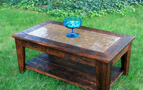 Copper Mosaic Coffee Table Reclaimed Wood Rustic