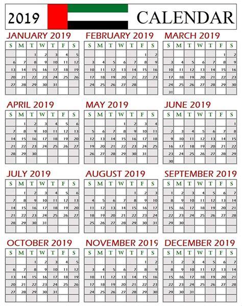 Printable Calendar Uae 2019