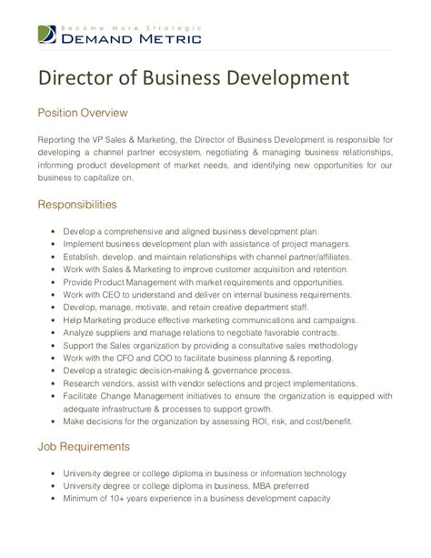 Sle Resume For Business Development Executive by Director Business Development Resume Sles 28 Images Business Development Manager Personal