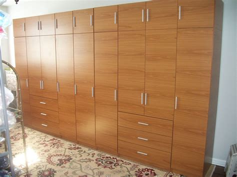 Wall Wardrobe Closet by Handmade Honey Maple Matte Finish Complete Wall Wardrobe