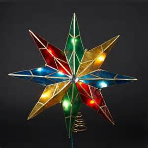 Pre Lit Multicolor Christmas Tree by 15 Quot Lighted Capiz Poinsettia Star Christmas Tree Topper