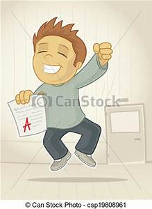 Clip Art Vector of Exam Passed - Excited student ...