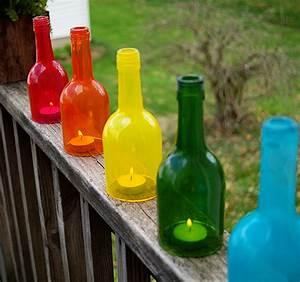 DIY Wine Bottle Craft Rainbow Lanterns