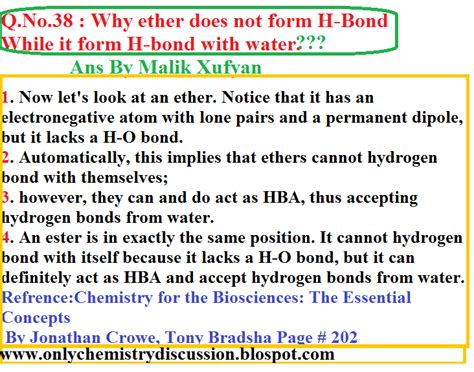 malik xufyan only chemistry discussion q no 38 why ether does not form h bond while it form