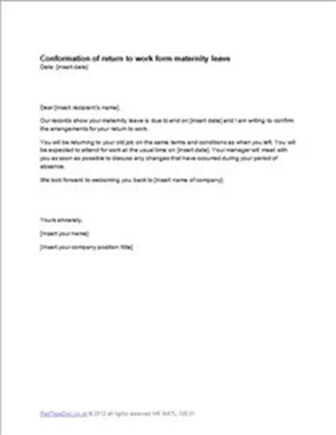 maternity leave return letter template
