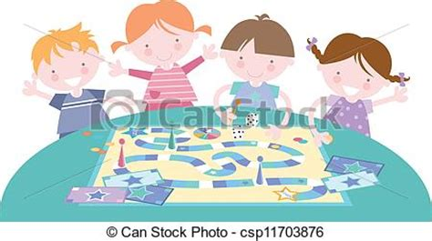 vectors illustration  kids playing traditional board