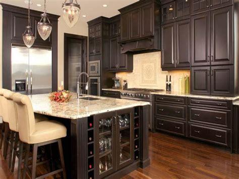 Rta Espresso Kitchen Cabinets With White Island  Roy Home