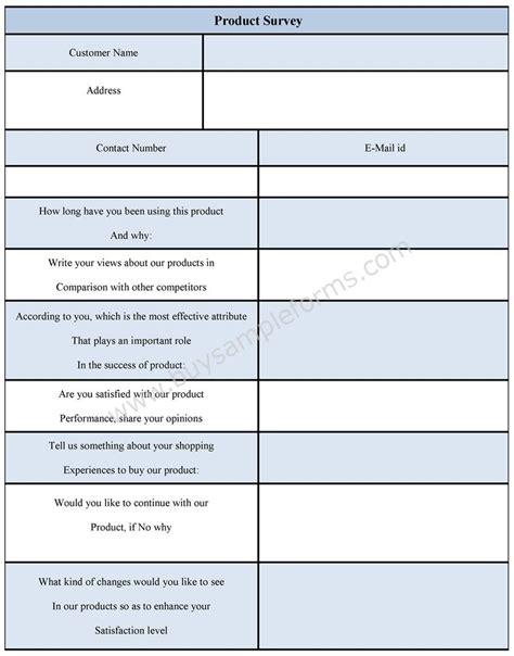 product survey form product survey sle