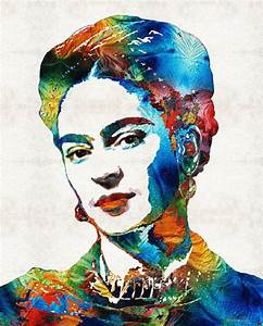 Frida Kahlo Art Print from Painting Colorful Famous Artist