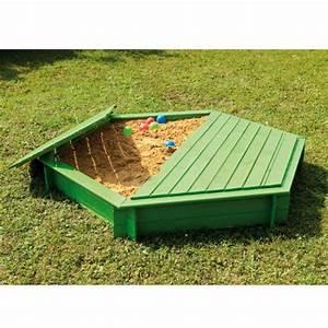 Bac à Sable Bois : bac sable bois trait hexagonal avec couvercle l75 x ~ Premium-room.com Idées de Décoration