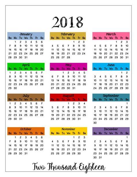 calendar template full year 2018 printable color calendar 2018 wall calendar full year