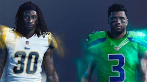 color rush    seahawks  rams wild uniforms