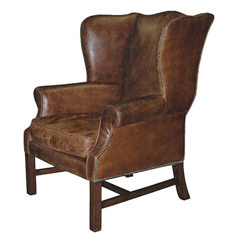 gaston rustic lodge aged leather wingback library arm chair kathy kuo home