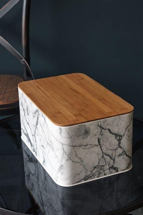 marble print bread bin  wooden lid kitchen storage