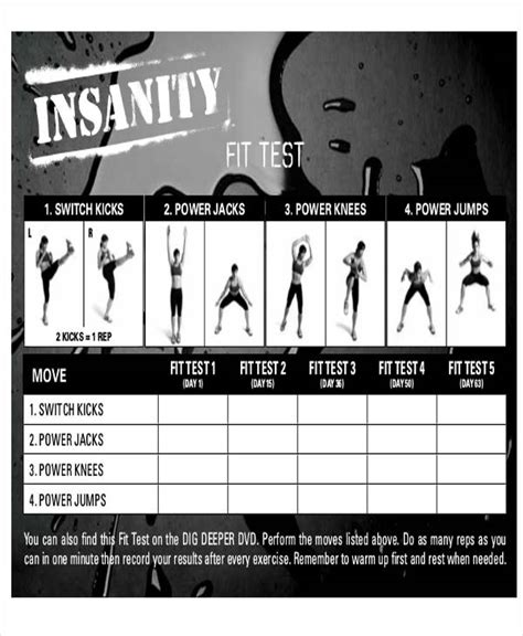 insanity workout fit test tracking sheet blog dandk
